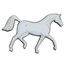 "Lapel Pin ""Arabian Trot"", White"