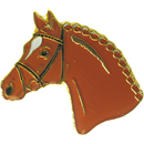 "Lapel Pin ""Horse Head"", Brown"