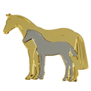 "Lapel Pin ""Mare and Foal"", gold and silver"