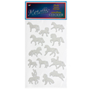 "Metallic Stickers ""Horses"", silver, Pack of 6, Pack of 6"