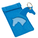 Felt Mobile Bag with Keyring, blue