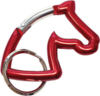 "Aluminium Snap Hook ""Horse Head"", red"