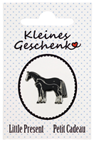 "Lapel Pin ""Mare and Foal"", black and white"